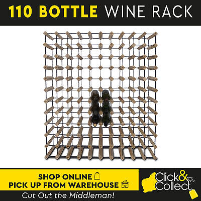 110 Bottle Wooden And Metal Wine Rack Natural Wood Cellar Organiser Timber Stand
