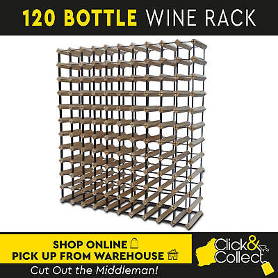 120 Bottle Wooden And Metal Wine Rack Natural Wood Cellar Organiser Timber Stand