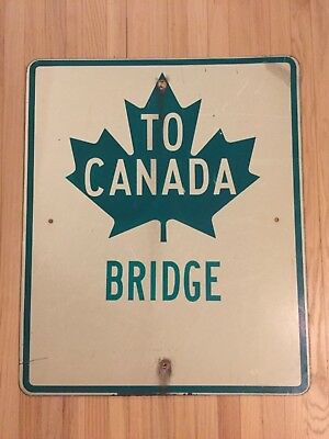 Old Detroit to Canada Tunnel Boarder Sign Bridge Road Street Highway Michigan