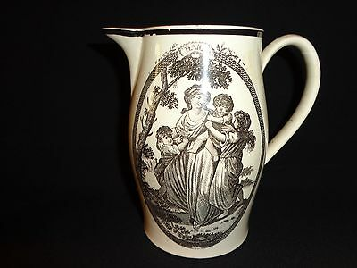Early 1800's Antique Liverpool Soft Paste China Black Transfer Pitcher, Charity