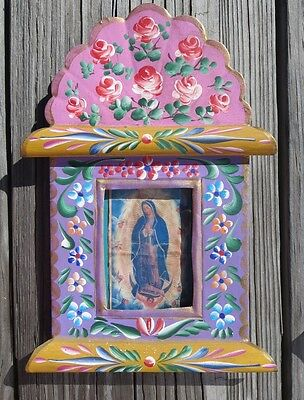 Tin Frame Mexican Hand Painted Folk Art Nicho w Virgin of Guadelupe Art Mexico