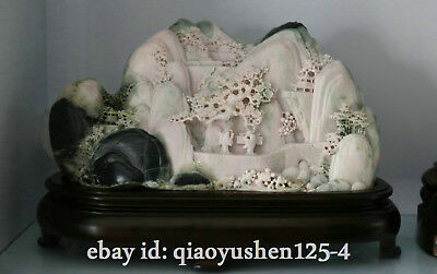"""14.1"""" Chinese Exquisite Dushan Jade Hand-carved Ancient Pine Tree Old Man Statue"""