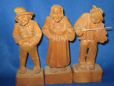 "Three hand carved wooden Folk German Pieces 6"" tall old Lady & Man & Violinist"