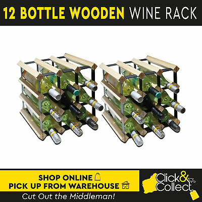 Set of 2/12 Bottle Natural Wooden Metal Wine Rack Wood Colour Cellar Organiser