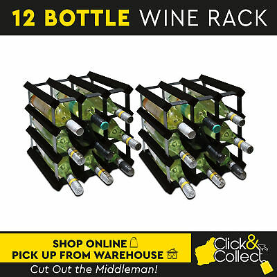 Set of 2/12 Bottle Black Timber Wine Rack Wooden Storage Cellar Organiser Stand
