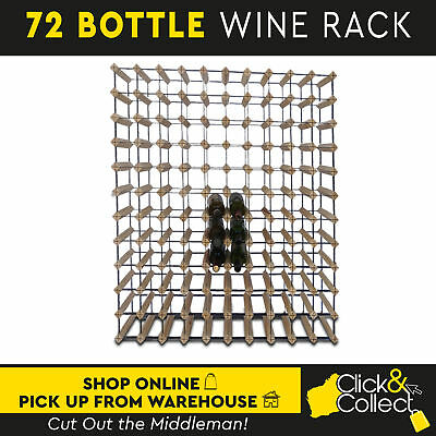 72 Bottle Wooden And Metal Wine Rack Natural Wood Cellar Organiser Timber Stand
