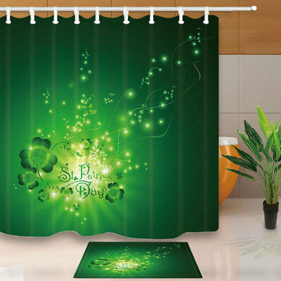 St.Patrick Day Greeting With Shamrock Bathroom Shower Curtain Set Fabric 71 Inch