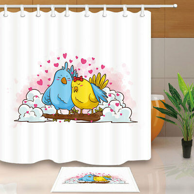 Colorful Bird Love Each Other Bathroom Shower Curtain Set Fabric 71 Inch & Hooks