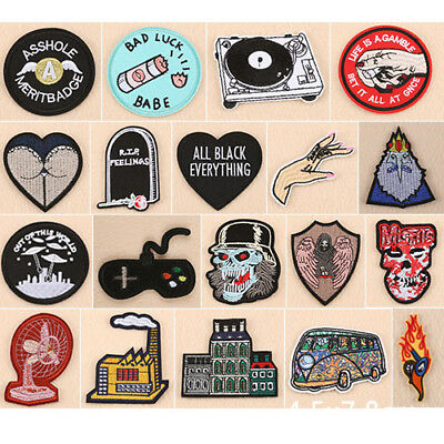 Embroidered Iron On/Sew On Patches Badge Hat Fabric Applique Clothes Craft DIY