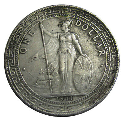 UK-Coin Silver Dollar Ancient Coins 1911 British Trade Silver Dollar Toy