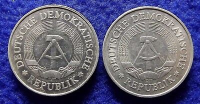 EAST GERMANY DDR 1 Mark 1982 & 1985 - 2 VF Cold War Coins (#1491)