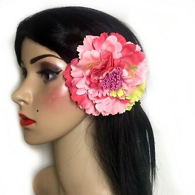 Multicolour Pink Peony Flower Hair Clip Brooch Pin Rose Corsage Rockabilly 1950s