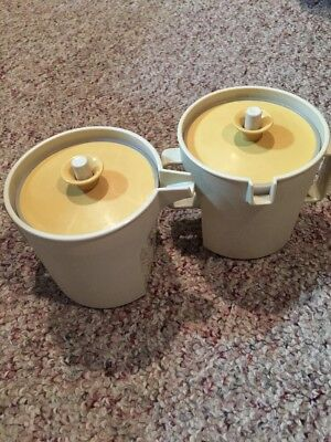 Vintage Tupperware Cream & Sugar Set Almond Gold Push Seal Lids 1415/1414 Bonus