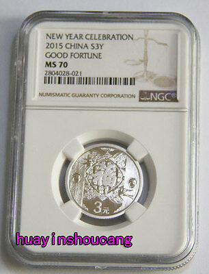 10pcs lot of 2015 3yuan new year 1/4oz silver coin S3Y Good Fortune Fu NGC MS70