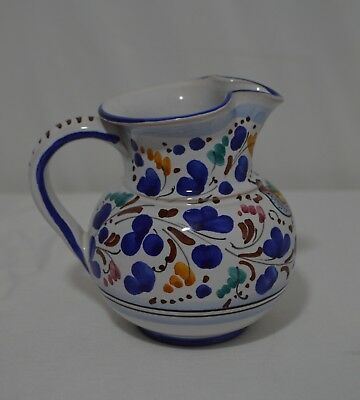S Gimignano Italy Pottery Creamer Pitcher ~ Hand Painted ~ Pnched Spout