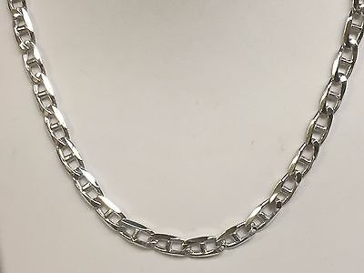 """10k Solid WHITE Gold Anchor Mariner chain/necklace 4 MM 23 Grams 20"""""""