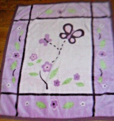 "COCALO BABY ""SUGAR PLUM"" NURSERY Soft Plush Blanket Purple Pink Butterfly"