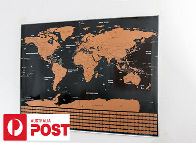 New Travel Tracker Big Scratch Off World Map Poster with Australia Flags AU Post