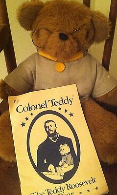 Vintage 1979 The Teddy Roosevelt Bear in Tan Colonel's Uniform Book Included