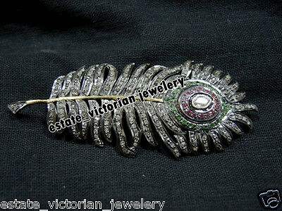 Vintage 4.32cts Rose Antique Cut Diamond Silver Gemstone Jewelry Feather Brooch