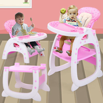 Baby High Chair 3 in 1 Convertible Play Table Seat Booster Toddler Feeding Tray