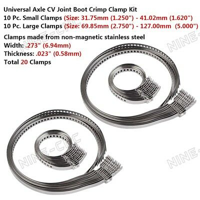 20pcs Universal Stainless Steel Clamp Clip Set For Driveshaft CV Joint Boot Kit
