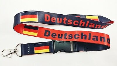 Germany/Deutschland flag reversible lanyard with clip for keys or id badges