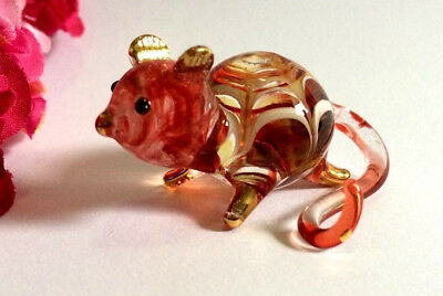 Guinea Pig Hand Blown Glass Miniature Animal Figurine Collectible Home Decor