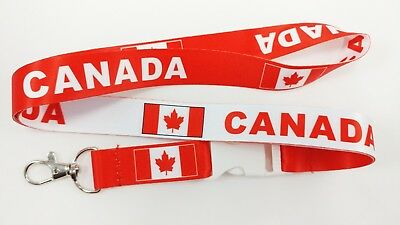 Canada flag reversible lanyard with clip for keys or id badges. Free shipping