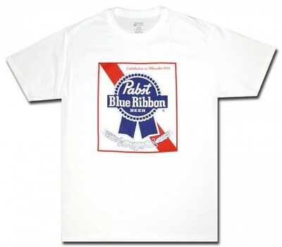 Pabst Blue Ribbon PBR Mens 100% Cotton Size Large Tagless White Logo T-Shirt NEW