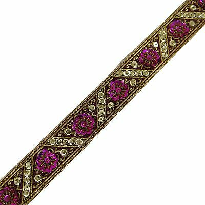 Handmade Pink Fabric Embroidered Trim Ethnic Lace Sew Dress Border Tape By 1 Yd