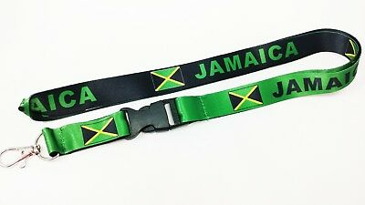 Jamaica flag reversible lanyard with clip for keys or id badges. Free Ship