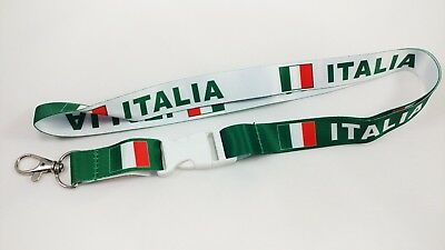 Italy/Italia flag reversible lanyard with clip for keys or id badges. Free Ship