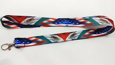 USA/Mexico flag lanyard with clip for keys or id badges. Free Shipping