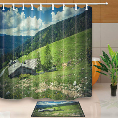 Small Houses on Mountain with Forest Bathroom Shower Curtain Set Fabric 71 Inch
