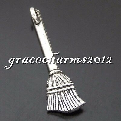 38x Vintage Silver Alloy Brooms Shape Pendants Findings Charms Crafts  50646