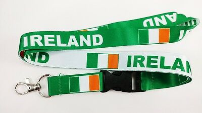 Ireland flag reversible lanyard with clip for keys or id badges. Free Shipping