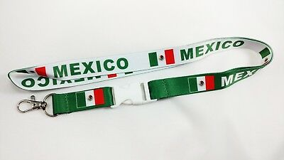 Mexico flag reversible lanyard with clip for keys or id badges. Free Shipping