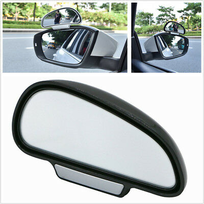 2Pcs Adjustable Wide Angle Convex Rear Side View Blind Spot Mirror Black for Car
