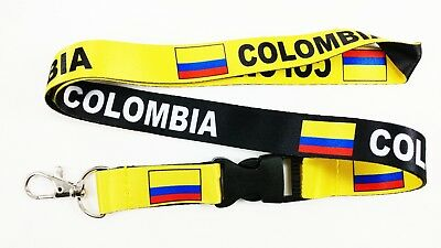 Colombia flag reversible lanyard with clip for keys or id badges. Free Ship
