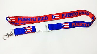Puerto Rico flag reversible lanyard with clip for keys or id badges. Free Ship