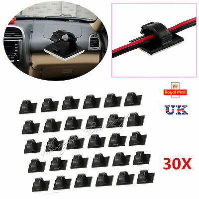 30X Car Wire Clips Self-adhesive Tie Cable Holder Rectangle Plastic Mount Clamp