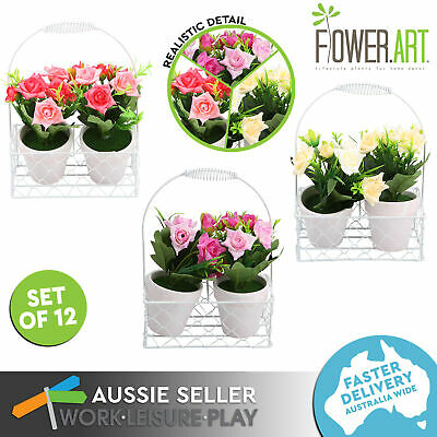 12x Artificial Rose Potted Fake Flower w/ Basket Realistic Ornament Decor