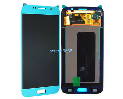 Für Samsung Galaxy S6 G920F LCD Display Touch Screen Digitizer sky blue+cover