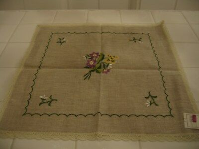 Beautiful Vintage Embroidered Dresser Square Scarve Doily Purple & Yellow Floral