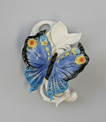 Porcelain Wall mounted vase Butterfly blue Ens H16cm 9941284