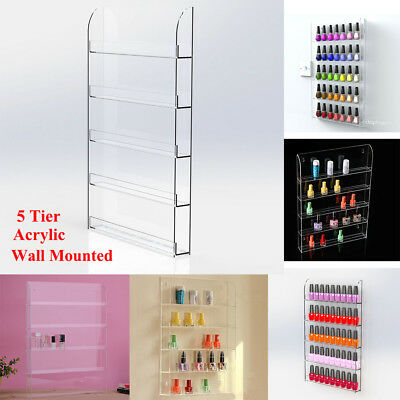 Wall Mounted Nail Polish Display Stand With Lip Holds Opi Cnd Shellac Gel Polish