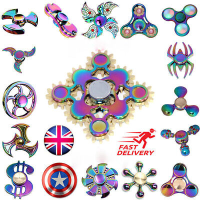 Figet Spinner Rainbow Fidget Finger Focus Spin Metal Tri ADHD Cube EDC Stress UK