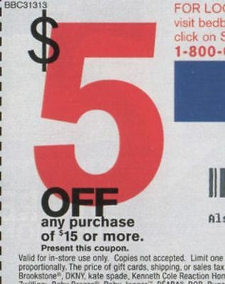 BED BATH & BEYOND 10CUPONS - $5 off $15 READ DESCRIPTION