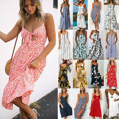 Womens Holiday Evening Party V Neck Button Pocket Ladies Summer Midi Beach Dress